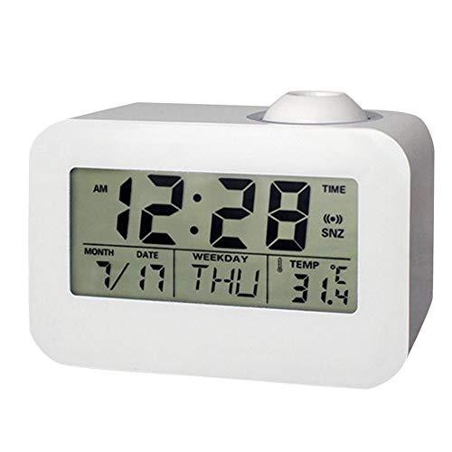 Xzndv Reloj electrónico Digital, Reloj Despertador con proyector LCD, Relojes Digitales de Temperatura...