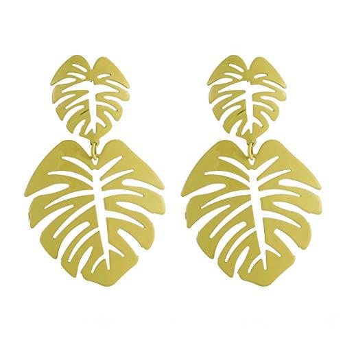 UINGKID Damen Ohrringe Mode Ohrstecker Vintage Europäische und amerikanische Persönlichkeit Hollow Metal Leaf -