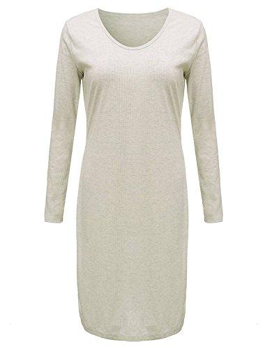 ZANZEA Femmes Sexy Manches Longues Bodycon Mini Robe Split Tunique Dress Blouse Pull-over Image