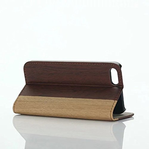 inShang Hülle für iPhone SE, SUPER PU Leder Tasche Hülle Skins Etui Schutzhülle Ständer Smart Case Cover für iPhone SE Cell Phone Displayschutzfolie Bildschirmschutzfolie, Handy , Wood Burgundy
