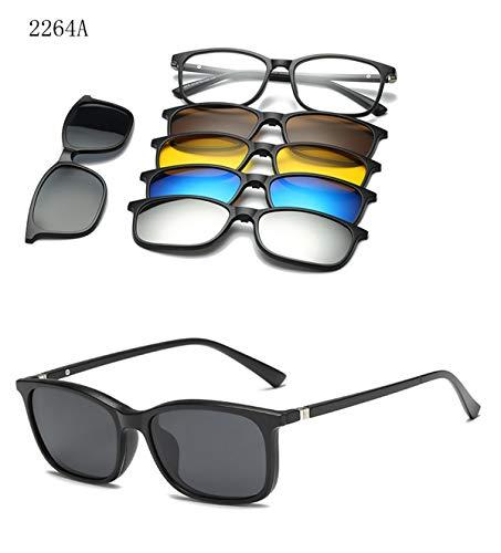 DYFDHA Sonnenbrillen 5 Lenes Magnet Sunglasses Clip Mirrored Clip On Sunglasses Clip On Glasses Men Polarized Custom Prescription Myopia CT2264A
