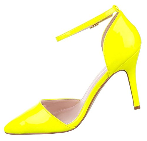 Damen Pumps Schuhe High Heels Stiletto Abendschuhe Business Club schwarz weiss beige pink gelb 36 37 38 39 40 41 Gelb