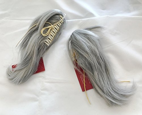 Prettyland - treccia di capelli grigio argento effetto cavallino corto treccia argentata - 2 pezzo (1 set)