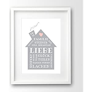 Poster Familie ungerahmt, Namen personalisiert, Hausordnung grau