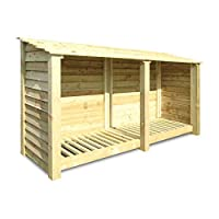 Normanton 4ft Wooden Log Store/garden Storage, Green, Heavy Duty, Hand Made, Pressure Treated.