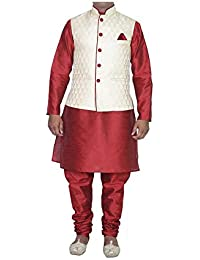 Himansh Fashion Men's Silk Kurta Churidar with Waistcoat