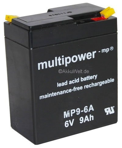 Blei-Gel Akku 6Volt 9Ah Multipower MP9-6A AGM Lead-Acid-Battery Fisher Price / Power Wheels Accu Batterie (Power Batterie 6 Wheels Volt)