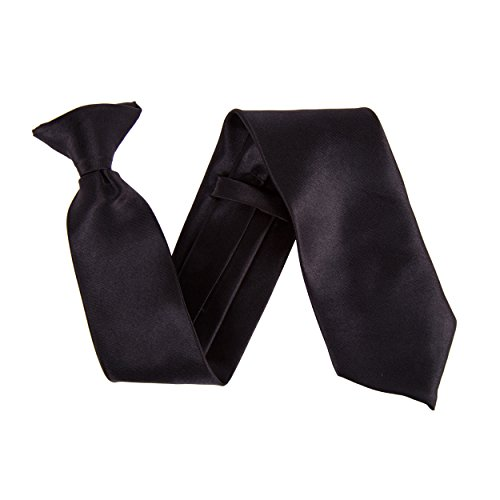 """Robelli Homme Classique À Clipser 3"""" Large Satin Sécurité Cravate Noir"""