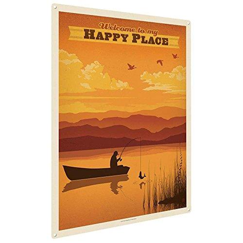Eugene49Mor Welcome to My Happy Place, 22,9x 30,5cm Metall Kunstdruck Home Decor für Büro, Kinderzimmer, Terrasse, Garage, Kabine, Lodge, Oder Urlaub Home