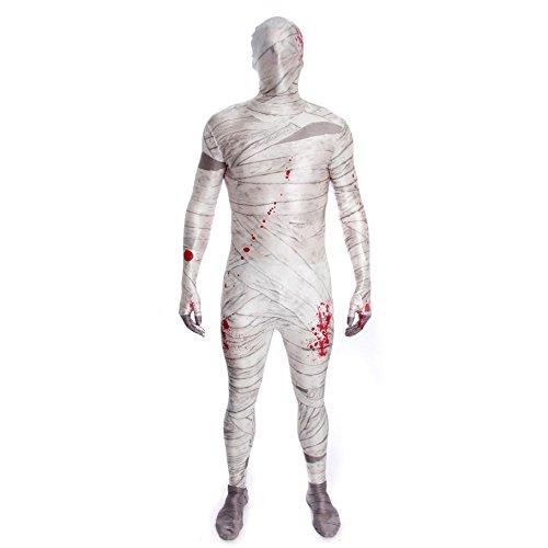 KULTFAKTOR GmbH Mumie Kinder Morphsuit Halloween Weiss-grau-rot 10 bis 12 Jahre