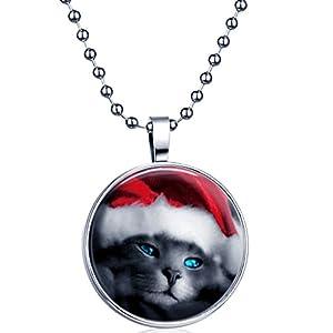 Yumilok Weihnachten Katze Kätzchen Nachtleuchtend Anhänger Halskette Legierung Kettenänhanger für Damen Herren, Blaues Licht