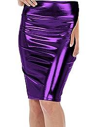 MIXLOT Damen Sexy Metallic Liquid High Taille Slim Fit Bleistift Midi Shiny Rock (L/XL, Lila)