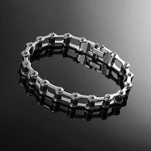 Jiayiqi Bracelet Chaîne Réglable Bracelet Poignet à Maillons Acier Inoxydable Hommes No.1