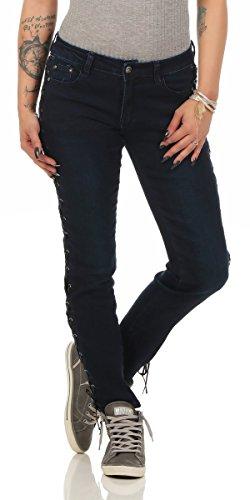 Fashion4Young - Jeans - Femme Bleu noir 36 bleu foncé