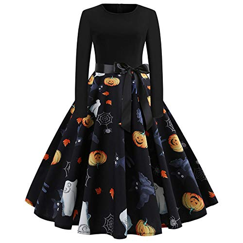 OverDose Damen Happy Halloween Frauen Langarm O Hals Druck Vintage Kleid Party Clubbing Karneval eleganten Kleid Rock(C-Schwarz,M) (Hello Kitty Kostüme Uk)
