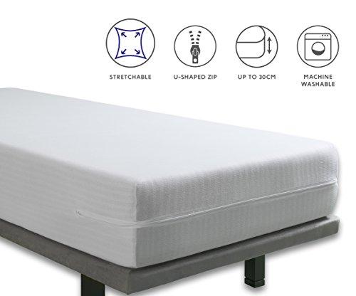 Tural - Extra elastischer und widerstandsfähiger Matratzenbezug/Matratzenüberzug. Reißverschluss. Einzelgröße 90x200cm