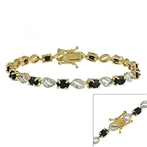 Vermeil (24k Gold over Sterling Silver) Bracelet with Genuine Diamond accents & Genuine Sapphire stones