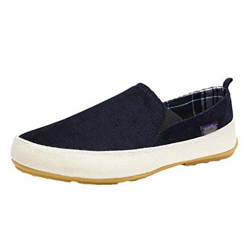 Dooxi Hommes Décontractée Plat Loafers Chaussures Confort Conduite Chaussure Bleu foncé