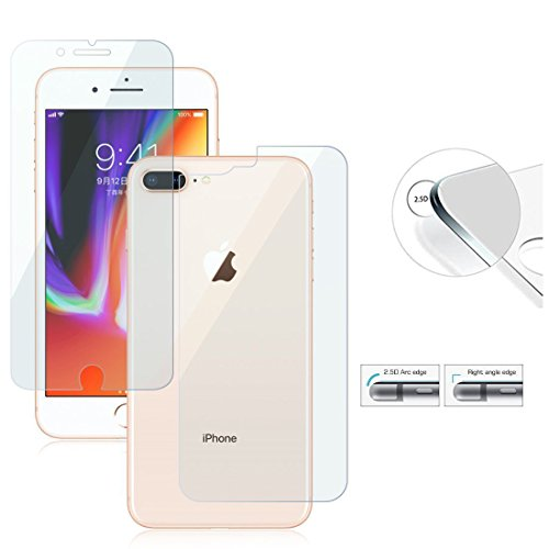 Price comparison product image Front and Back Screen Protector For iPhone 8 / 7,  8 / 7 Plus,  6s. 6s Plus & 5 - Front + Back Rear [9H Hardness 0.26 mm 2.5D] Premium Ultra-Clear Anti Scratch / Bubble Free Tempered Glass Case Cover (For iPhone 8 Plus)
