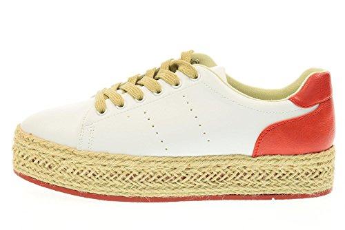 GOLD&GOLD chaussures basses de la femme avec des baskets FA06 WHITE / plateforme RED Blanc / rouge