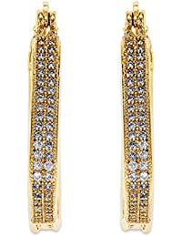 Peora 18K Gold Plated CZ Studded Triangle Hoop Earrings For Women And Girls