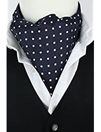 Fort & Stone Fine Silk Cravat - White Dots on Navy