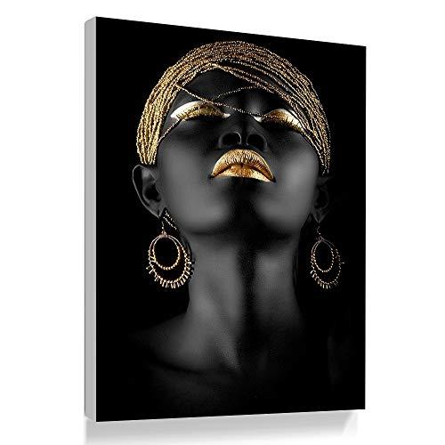 Bilder Auf Leinwand,\'S Fashion Schwarze Frauen Gold Ornamente Dekoration Leinwand Gemälde Kunstdruck Poster Bild Wand Schlafzimmer Wohnzimmer Dekoration Malerei Wandbild(1), 70 * 100