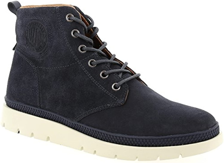 Palladium Herren Pallasider Mid Sue Blau Leder Stiefel Boots Größe 45