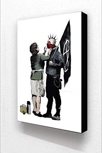 Banksy Punk & Mutter Vertikal 15,2x 10,2cm Postkarte Größe Holzblock Drucken