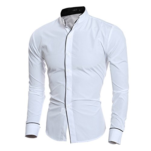 Men's Leisure Stand Collar Personalized Long Sleeve Shirts white