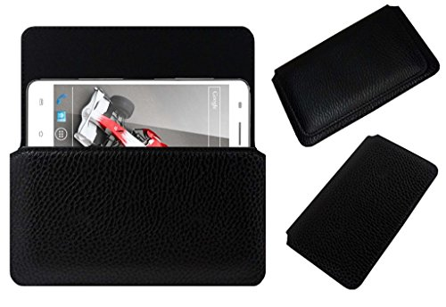 Acm Horizontal Leather Case For Xolo Q3000 Mobile Cover Carry Pouch Holder Black  available at amazon for Rs.179