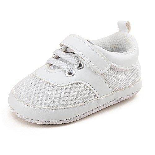 DELEBAO Baby Sneaker Babyschuhe Turnschuhe Krabbelschuhe Lauflernschuhe Mesh Atmungsaktiv Weicher Sohle für Baby Kleinkinder  - Weiß - 0-6 Monate/3M/US