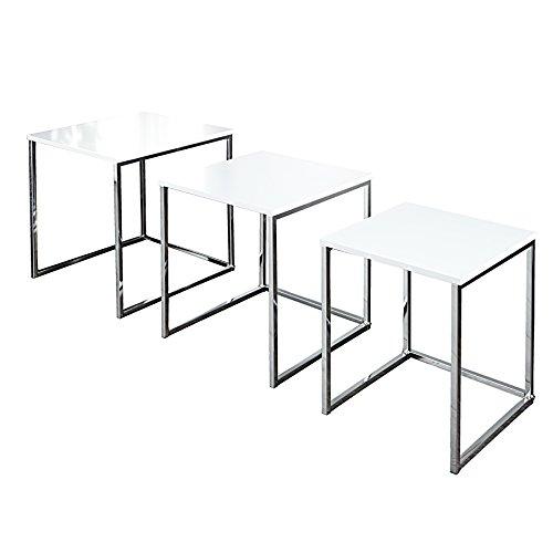 Design Beistelltisch 3er Set FUSION hochglanz weiss chrom (Set Lackiert Beistelltisch)