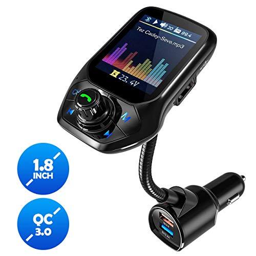 FM Transmitter Auto Bluetooth, OMORC Bluetooth FM Transmitter Unterstütz Intelligente Suche, Kfz Radio Adapter Freisprecheinrichtung mit 1,8''Farbbildschirm/QC 3.0/3 USB Ports/U Disk/TF Karte/Aux (Fm-transmitter Bluetooth Auto)