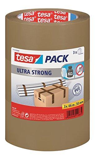 tesa Ultra Strong Packband (aus PVC mit besonders starker Klebekraft, 66 m x 50 mm, 3er Pack) braun