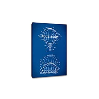 ArtsyCanvas Hot Air Balloon Gearhead Blueprint Art (Canvas), 30 x 20