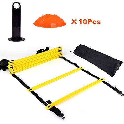 Trainingsleiter und Markierungskegel Set mit Tragetasche 12 Verstellbare flache Sprossen und 10 Kegel(in orange oder gelb) mit Tragegriff für Fußball Training -