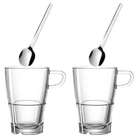 Leonardo Senso Latte Macchiato Tassen Set, mit Löffel 4-tlg., Kaffeebecher, Kaffeetasse, Kaffee Becher, Stapelbar, Materialmix, 230 ml, (Latte Macchiato Tasse)