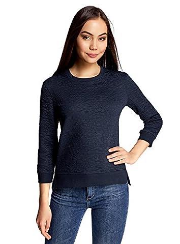 oodji Ultra Women's 3/4 Sleeve Sweatshirt in Textured Fabric, Blue,