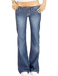Bestyledberlin Damen Boot-Cut Jeans Loose Fit, Dünne Baumwoll Hose ausgestelltes Bein, Basic Sommer Hüftjeans j19k