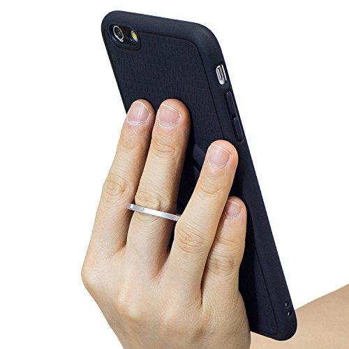 Cover iPhone 6S 4.7, Custodia iphone 6, iphone 6S Silicone Cover, MoreChioce Classico Moda Nero Cassa del telefono della staffa, Ultra Slim 3D Gel Soft Silicone Gomma Morbido TPU Trasparente Chiaro Co Supporto Argento