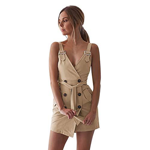 d04452c1d3c6 Maxi Vestito Estivo da Donna con Bottoni Regolabili Bodycon Senza Maniche  Mini Vestito Sexy Scollo a v