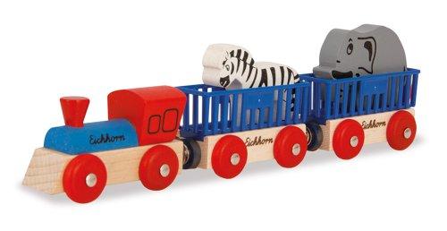Eichhorn 100001351 - Bahn Tierzug, 5-teilig - Lok mit 2 Wagons und 2 Tieren - Buchenholz - verbaubar mit nahezu allen Schienenbahnsystemen