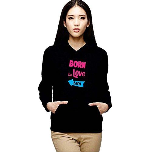 YaYa cafe Couple Gifts Born to Love Womens Sweatshirt Hoodie for Wife Girlfriend Black - 2XL