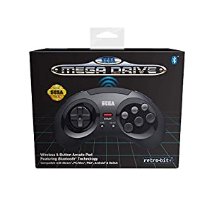 Retro-Bit Official SEGA Mega Drive Wireless Bluetooth Controller 8-Button Arcade Pad for PC, Switch, Mac, Steam, RetroPie, Raspberry Pi – Black