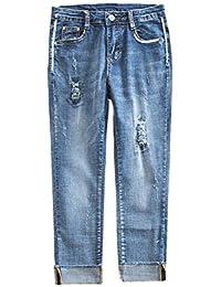Newbestyle 7/8 Hosen Damen High Waist Jeans Slim Skinny Sommerhose Stretch Capri Jeanshose Pants Denim Caprihose