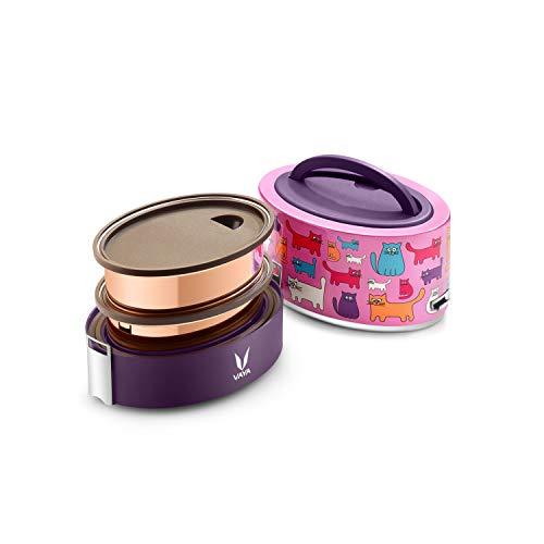 Vaya tyffyn 600ml Lunchbox ohne bagmat-copper-finished Edelstahl 2-container Tiffin Box BPA-frei Umweltfreundlich Gute Wärmespeichernden leak-resistant isolierten Lebensmittel Container für Büro
