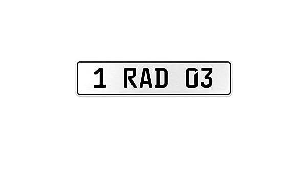 Vintage Parts 554006 1 RAD 03 White Stamped Aluminum European License Plate