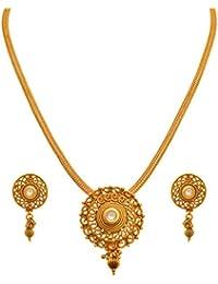 JFL - Traditional Ethnic One Gram Gold Plated Kundan Designer Pendant Set For Women And Girls.