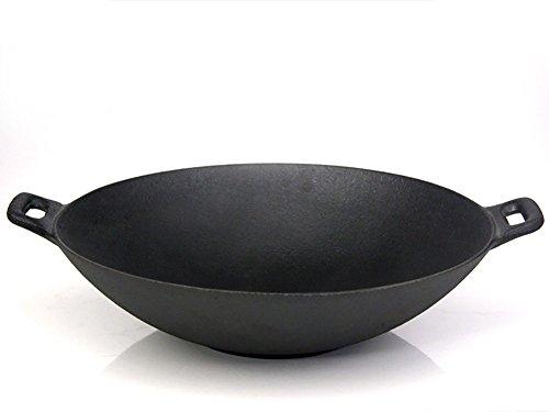 Santos Wok XXL aus Gusseisen für Gasgrill oder Kohlegrill | Durchmesser 37 cm